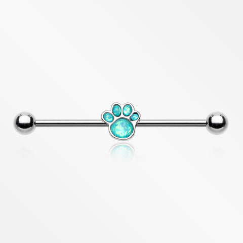Adorable Paw Print Opalescent Sparkle Industrial Barbell-Teal