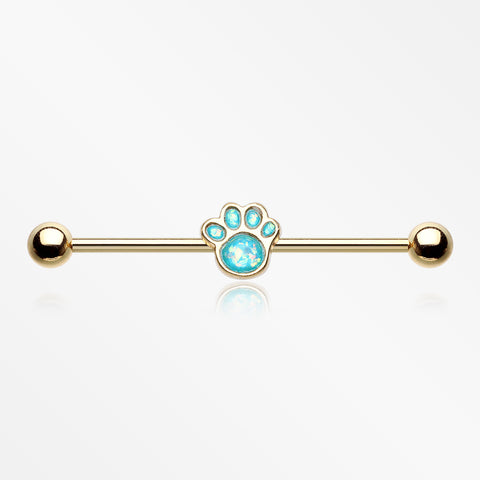 Golden Adorable Paw Print Opalescent Sparkle Industrial Barbell-Teal
