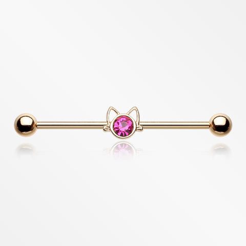 Golden Adorable Cat Face Sparkle Industrial Barbell-Fuchsia