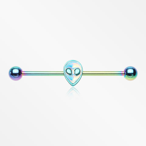 Colorline Iridescent Revo Alien Head Industrial Barbell-Rainbow