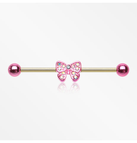 Golden Dainty Pink Bow-Tie Sparkle Industrial Barbell-Pink/Aurora Borealis/Aqua