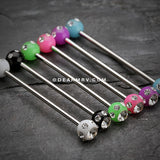 Acrylic Aurora Gem Ball Industrial Barbell-Black/Clear