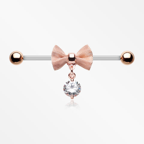 Rose Gold Adorable Mesh Bow-Tie Industrial Barbell-Clear