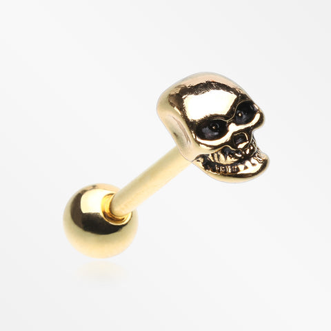 Golden Apocalyptic Skull Steel Barbell Tongue Ring