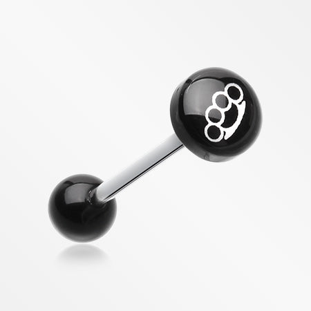 Brassknuckle Logo Acrylic Barbell Tongue Ring-Black