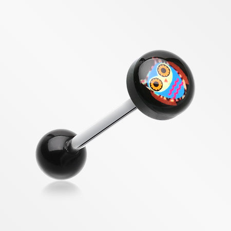 Retro Owl Logo Acrylic Barbell Tongue Ring-Black