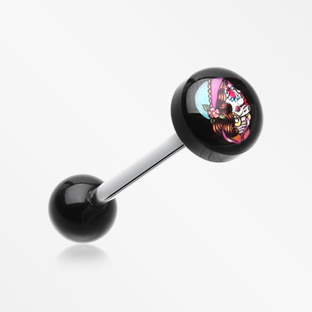 Lady Skull Logo Acrylic Barbell Tongue Ring-Black