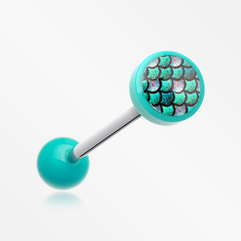 Vibrant Mermaid Scales Acrylic Barbell Tongue Ring-Teal