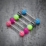 Candy Stripe Acrylic Top Barbell Tongue Ring-Purple