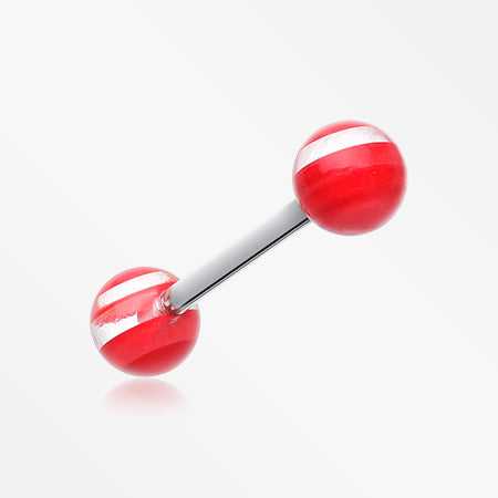 Clear Stripe UV Acrylic Barbell Tongue Ring-Red