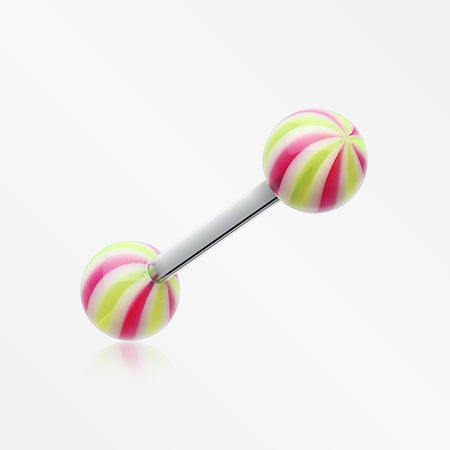 Candy Swirl Acrylic Top Barbell Tongue Ring-Yellow/Purple