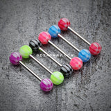 Classic Checker Acrylic Top Barbell Tongue Ring-Black