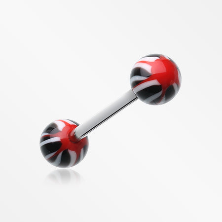Swirl Punch Acrylic Top Barbell Tongue Ring-Black/Red