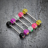 Star Punch Acrylic Top Barbell Tongue Ring-Yellow