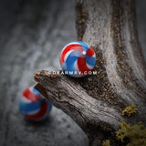 Pinwheel Stripe Acrylic Top Barbell Tongue Ring-Red/Blue