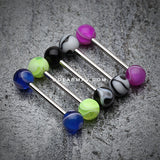 Marble Stripe Acrylic Top Barbell Tongue Ring-Blue