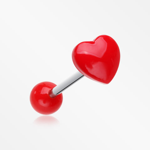 Adorable Puffy Heart Acrylic Top Barbell Tongue Ring-Red