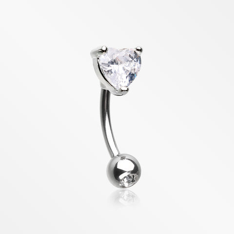 Heart Gem Sparkle Prong Curved Barbell-Clear