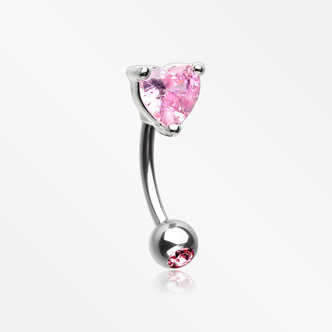 Heart Gem Sparkle Prong Curved Barbell-Pink