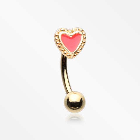 Golden Adorable Heart Curved Barbell-Red