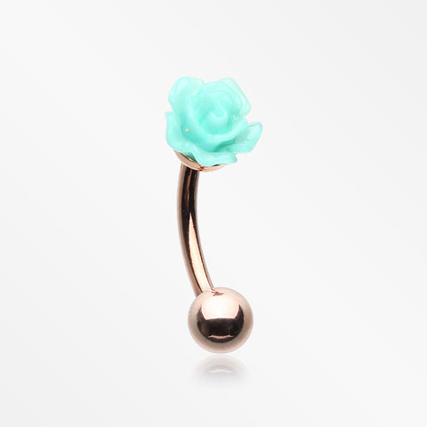 Rose Gold Romantic Rose Blossom Curved Barbell-Aqua