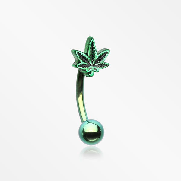 Colorline Cannabis Pot Leaf Curved Barbell-Green