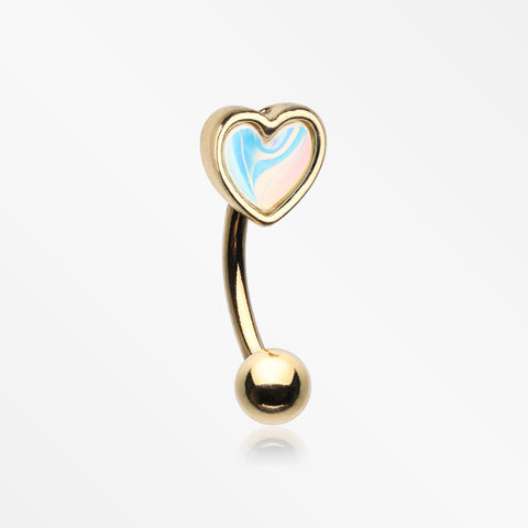 Golden Iridescent Revo Heart Sparkle Curved Barbell