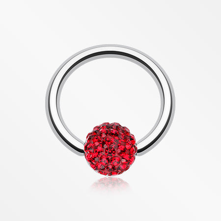 Multi-Gem Sparkle Captive Bead Ring-Red