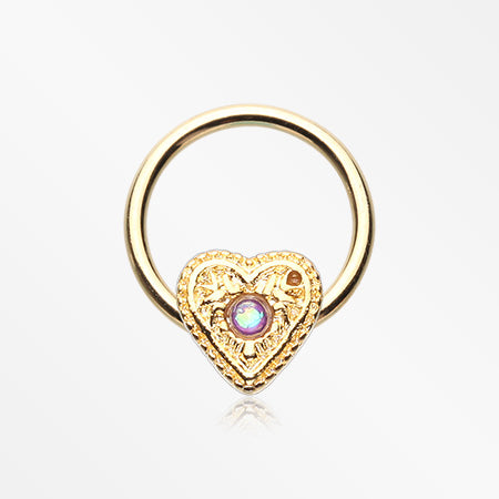 Golden Opalescent Sparkle Heart Captive Bead Ring-Purple
