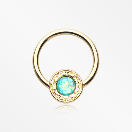 Golden Opalescent Elegance Captive Bead Ring-Teal