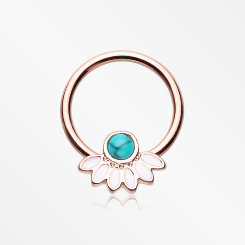 Rose Gold Tribal Turquoise Floral Elegance Steel Captive Bead Ring-White/Turquoise