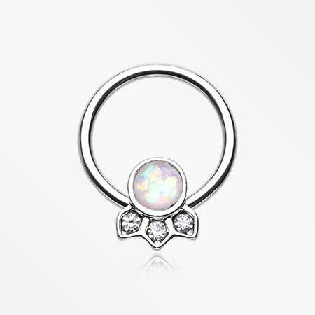 Victorian Opalescent Sparkle Captive Bead Ring-Clear/White