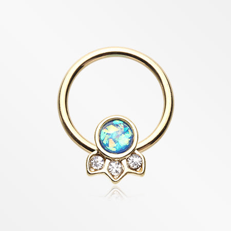 Golden Victorian Opalescent Sparkle Captive Bead Ring-Clear/Blue