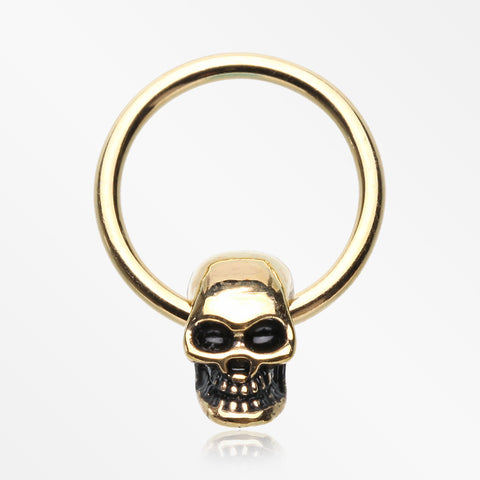 Golden Apocalyptic Skull Captive Bead Ring