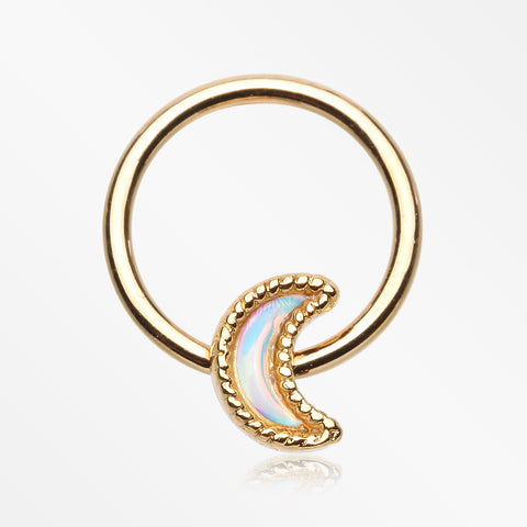 Golden Iridescent Revo Crescent Moon Captive Bead Ring