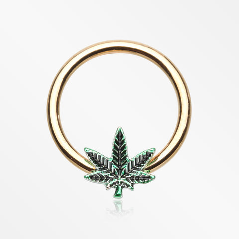 Golden Cannabis Pot Leaf Captive Bead Ring-Green