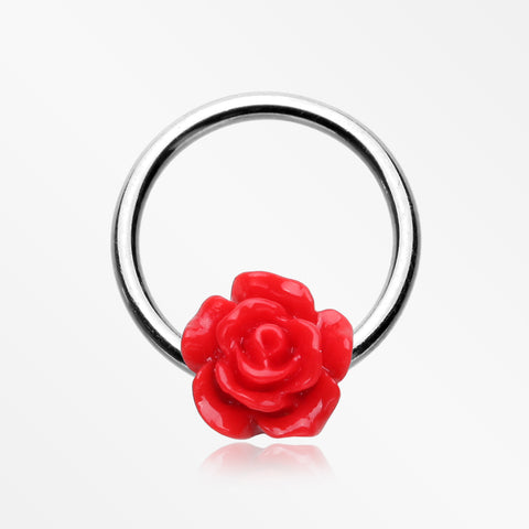 Dainty Rose Blossom Steel Captive Bead Ring-Red