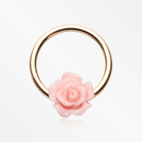 Rose Gold Dainty Rose Blossom Steel Captive Bead Ring-Pink