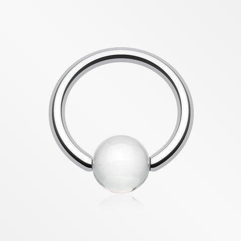 UV Acrylic Ball Top Captive Bead Ring-Clear