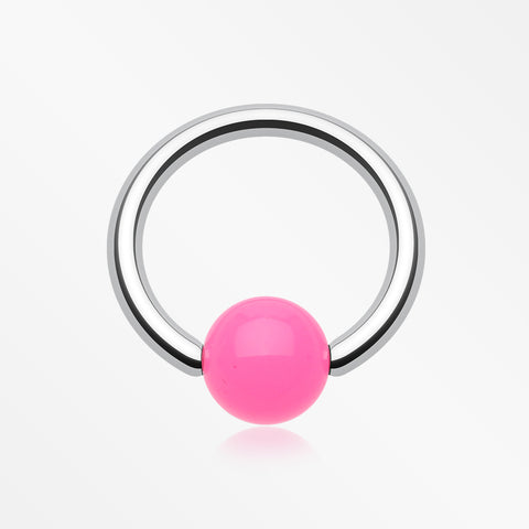 Neon Acrylic Ball Top Captive Bead Ring-Pink