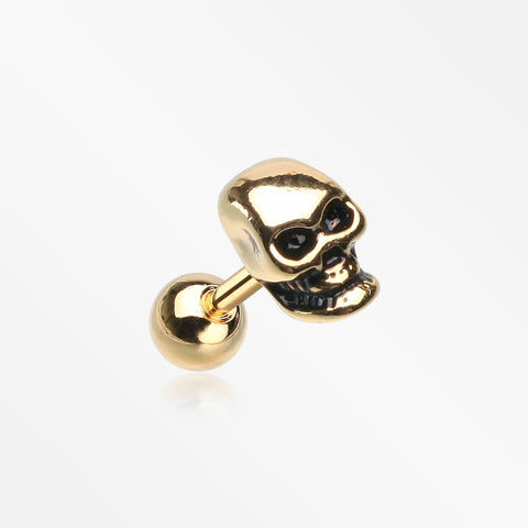 Golden Apocalyptic Skull Cartilage Tragus Barbell