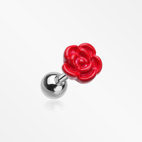 Vibrant Rose Blossom Cartilage Tragus Earring-Red