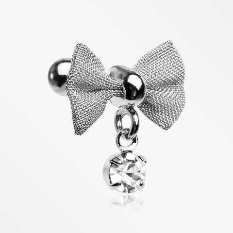 Dainty Mesh Bow-Tie Sparkle Dangle Cartilage Tragus Barbell-Clear