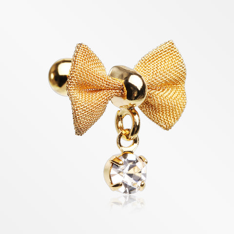 Golden Dainty Mesh Bow-Tie Sparkle Dangle Cartilage Tragus Barbell-Clear