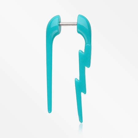 A Pair of Electro Lighting Faux Hanging Taper Earring-Teal
