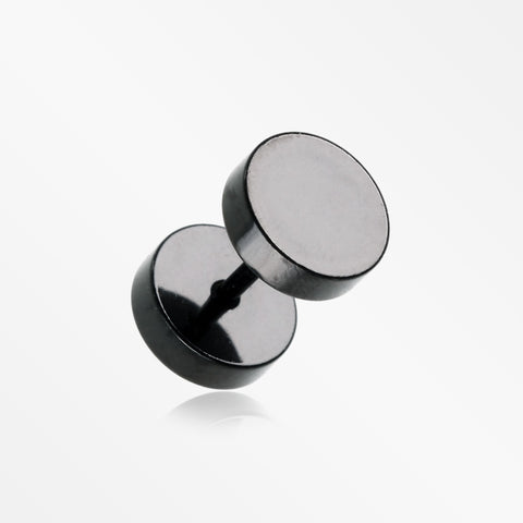A Pair of Black Metal Steel Fake Plug with O-Rings-Black