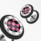 A Pair of Checker Gem Rimmed Faux Gauge Plug Earring-Pink