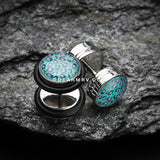 Glow in the Dark Cheetah Print Steel Fake Plug with O-Rings-Teal