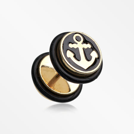 A Pair of Golden Sailor Anchor Steel Fake Plug with O-Rings-Black