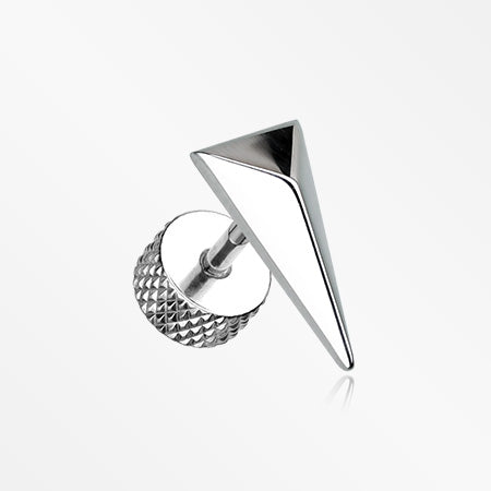 A Pair of Triangle Force Steel Fake Plug Earring-Steel